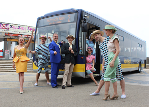 Konnect bus launch, seaside special publicity shot.